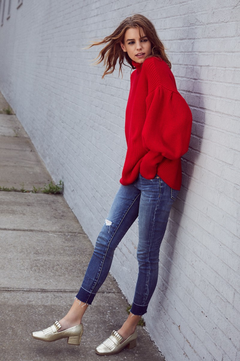 Topshop Balloon Sleeve Turtleneck Sweater