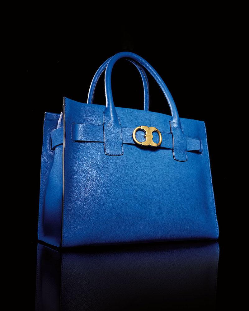 Tory Burch Gemini-Link Pebbled Leather Tote Bag
