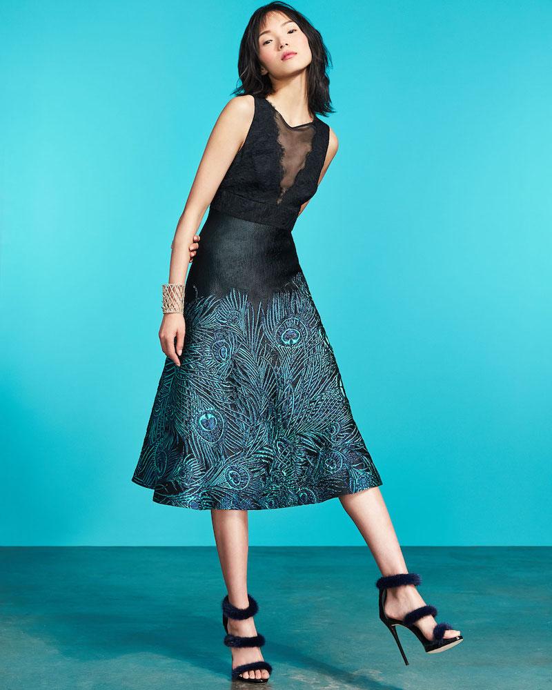 Trina Turk Lace Mesh Sleeveless Peacock Jacquard Cocktail Dress