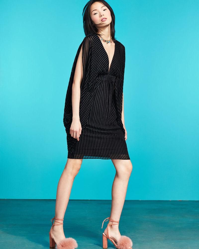Trina Turk Velvet Grid Burnout V-Neck Cocktail Dress