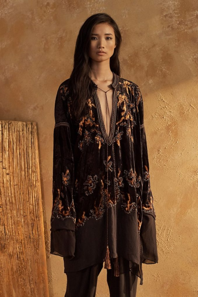 Urban Zen Embroidered Velvet Tassel-Tie Tunic