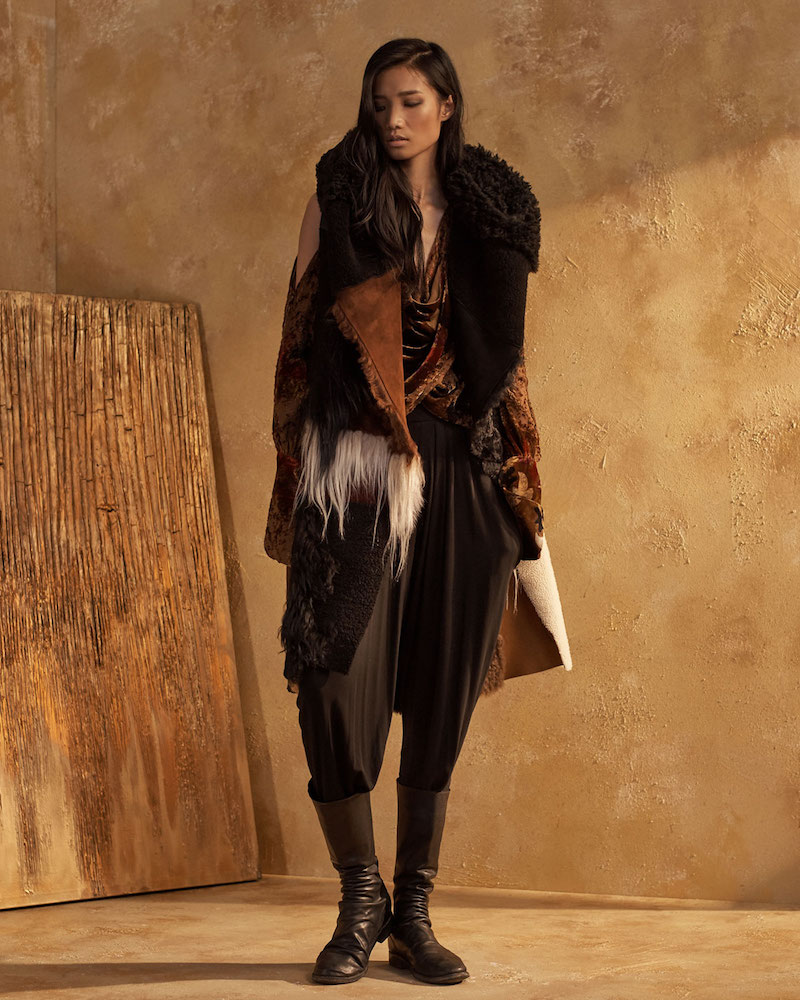 Urban Zen Patchwork Shearling Fur Vest