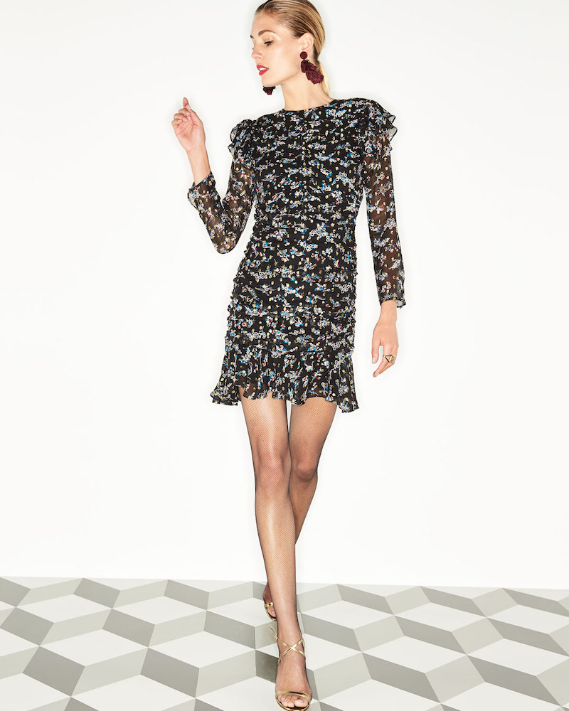 Veronica Beard Parc Jewel-Neck Ruched Floral-Print Mini Dress
