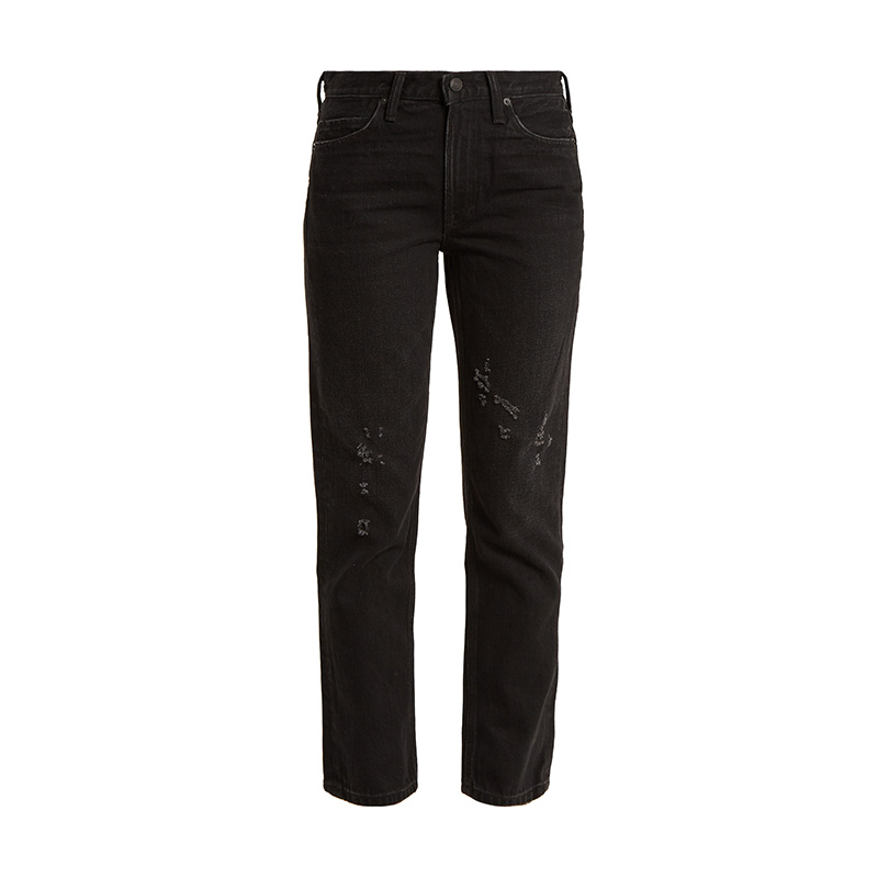 Vince Distressed Straight-Leg Jeans
