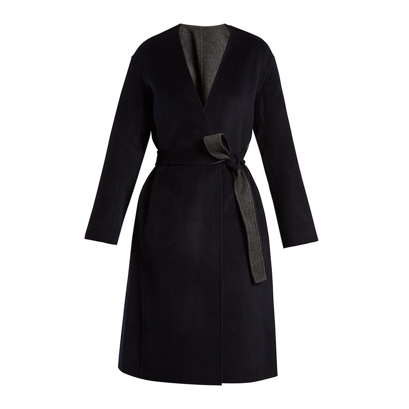 Vince Reversible Tie-Waist Wool-Blend Coat