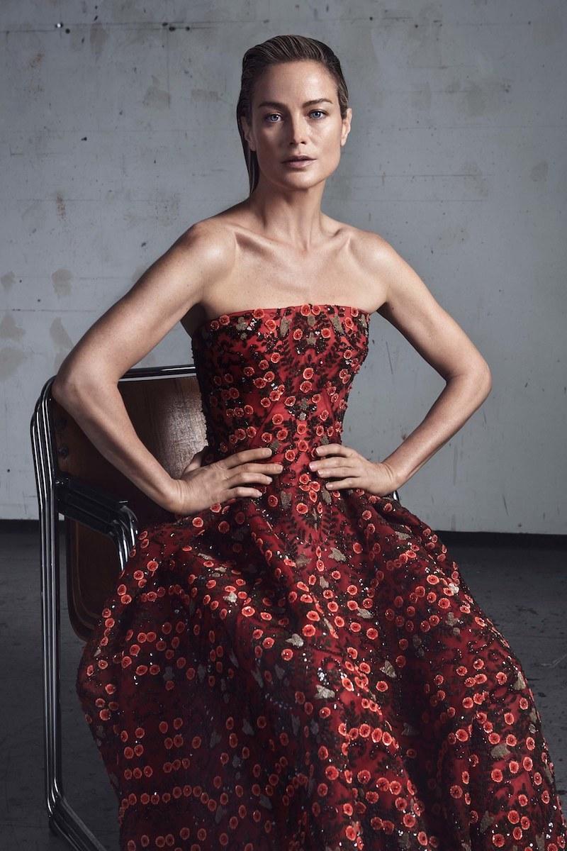 Zac Posen Floral-Embroidered Strapless Cocktail Midi Dress