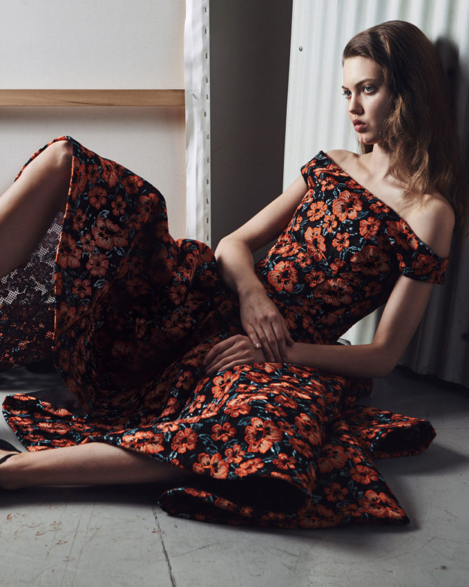 Zac Posen Off-the-Shoulder Embroidered Floral Dress
