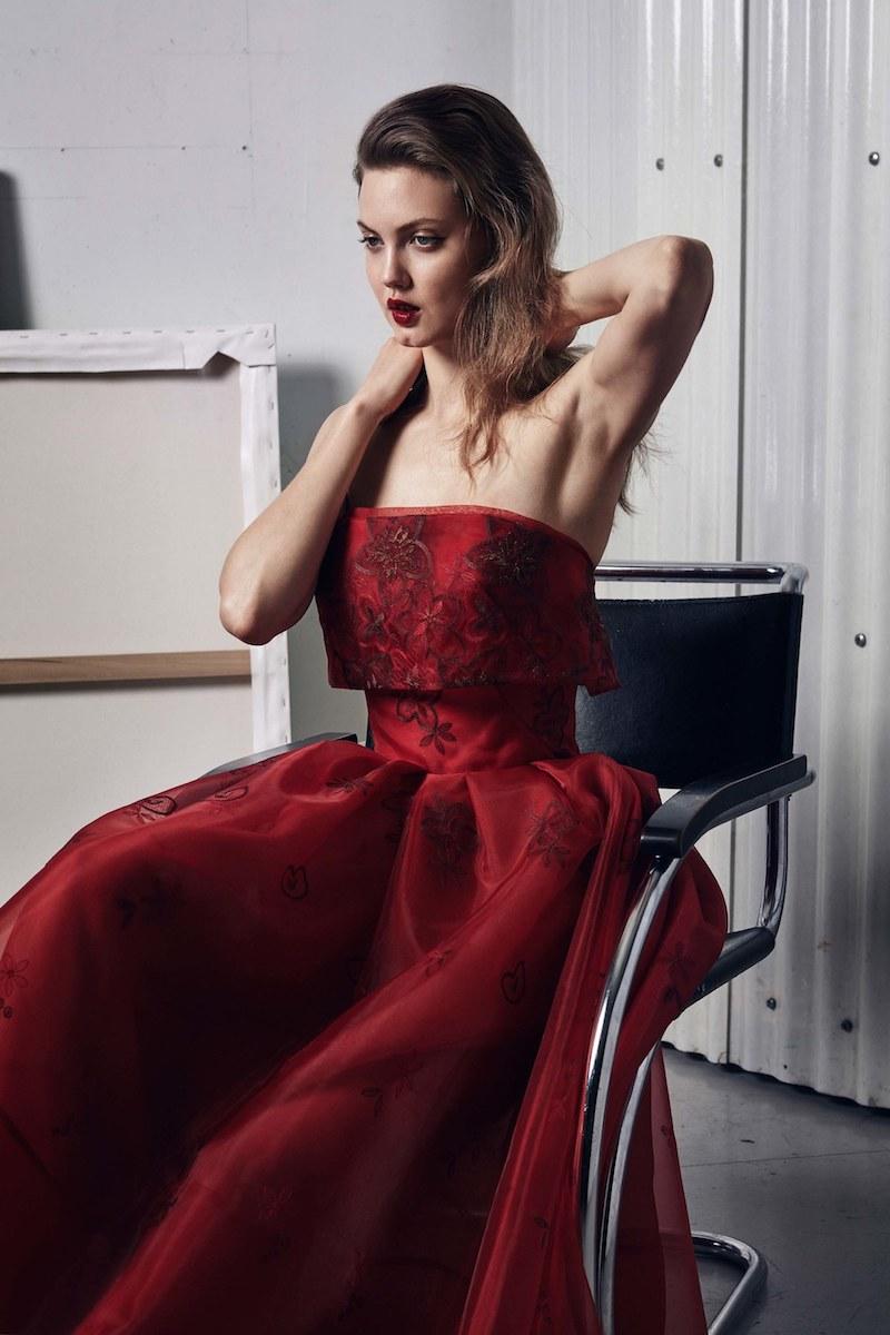 Zac Posen Strapless Floral Popover Midi Gown