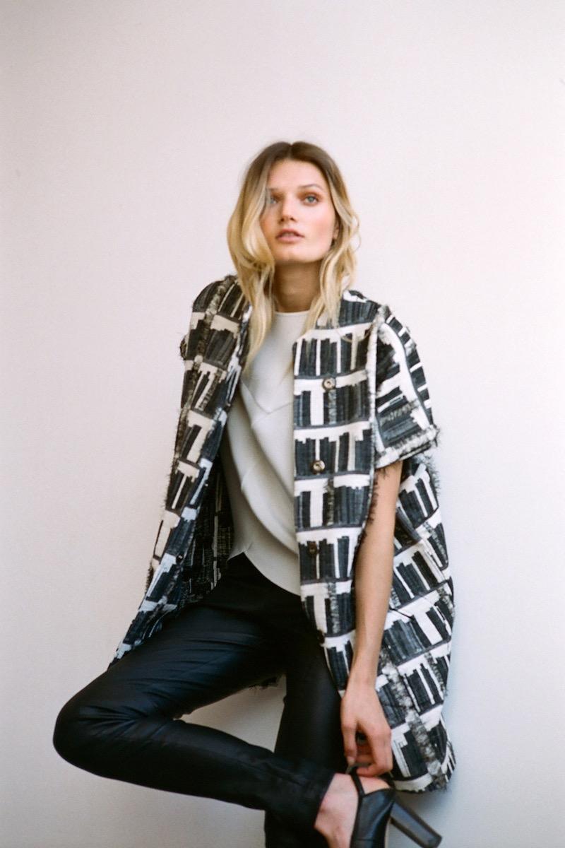 Zero + Maria Cornejo Edi Gilet Cotton-Blend Fil Coupé Jacket