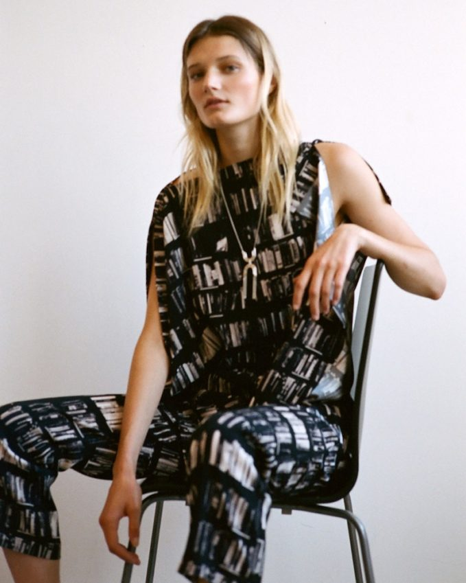 Zero + Maria Cornejo Eko Book-Print Stretch-Silk Pants