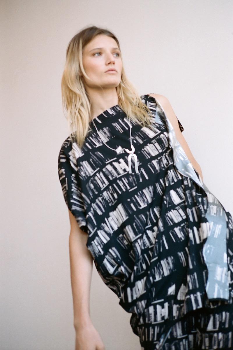 Zero + Maria Cornejo IQ Book-Print Stretch-Silk Tunic