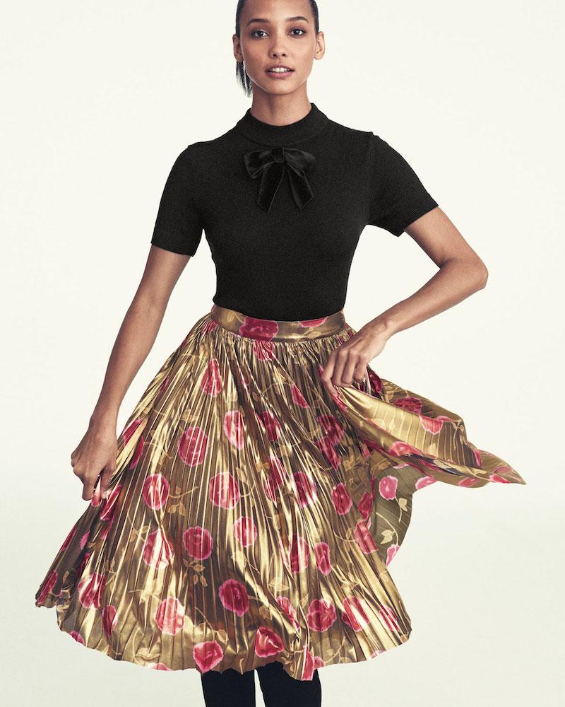 kate spade new york hazy rose pleated lamé a-line skirt