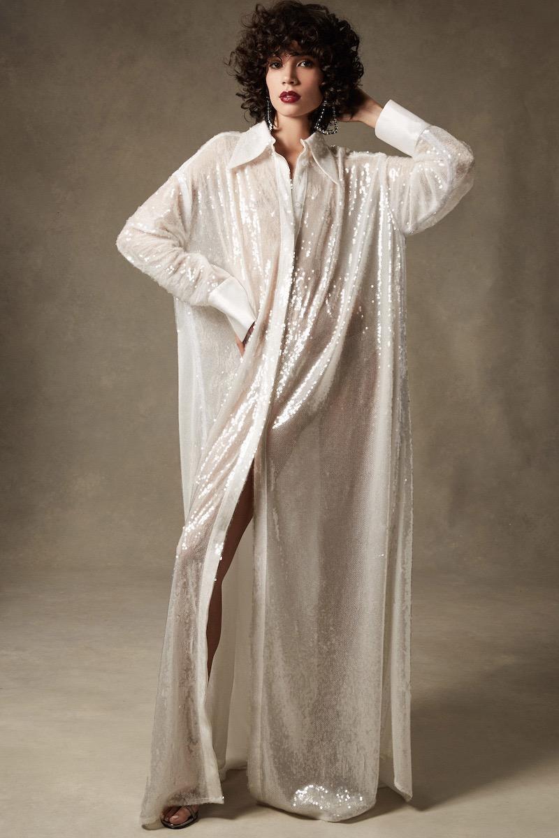 16Arlington Clear Sequin Shirt Gown