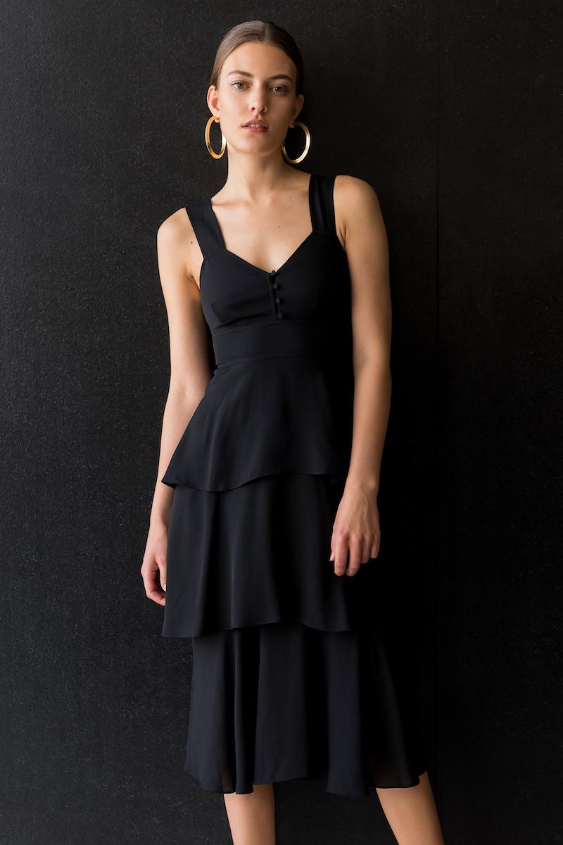 A.L.C. Luna Crepe Tiered Dress