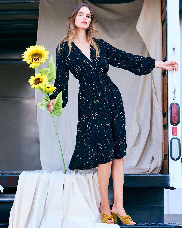 A.L.C. Samantha Deep-V Long-Sleeve Silk Midi Dress