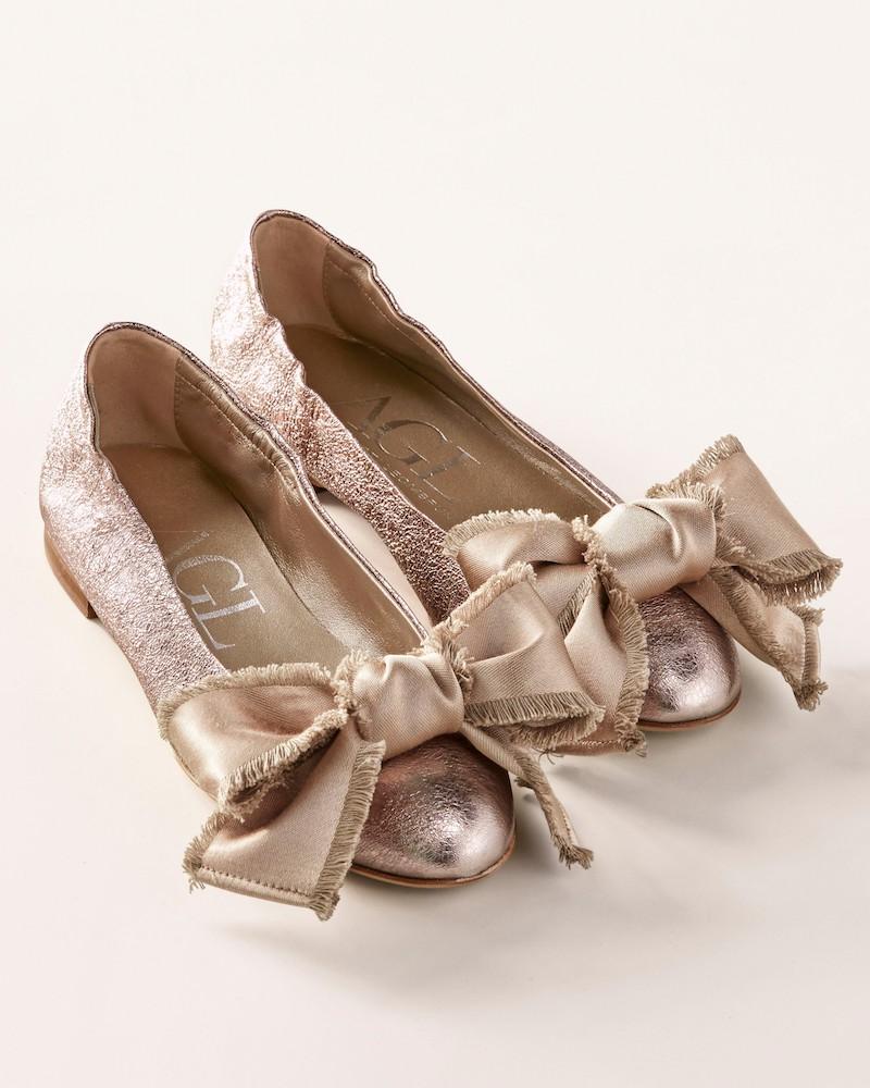 AGL Satin Bow Ballet Flat