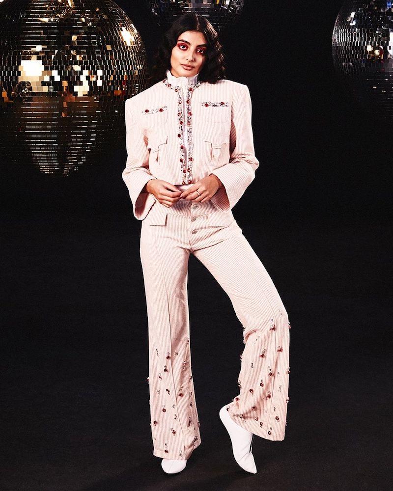 ART SCHOOL Tailored Swarovski Crystal-Embellished Pinstriped Cotton Jacket