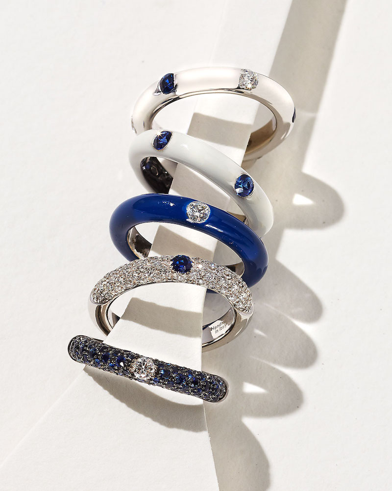 Adolfo Courrier 18K White Gold Band Ring with Inset Diamonds & Sapphire