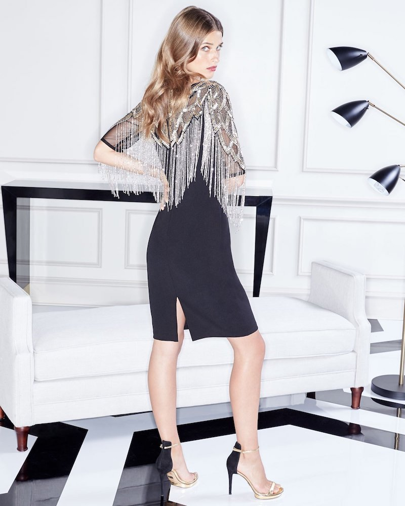 Aidan Mattox Beaded Cocktail Dress with Metallic Fringe
