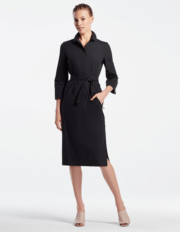 Akris punto Belted Cotton Shirtdress