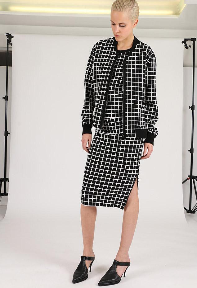 Akris punto Grid-Print Pencil Skirt