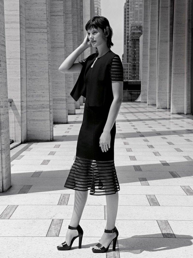 Akris punto Sleeveless Striped Tulle-Hem Dress
