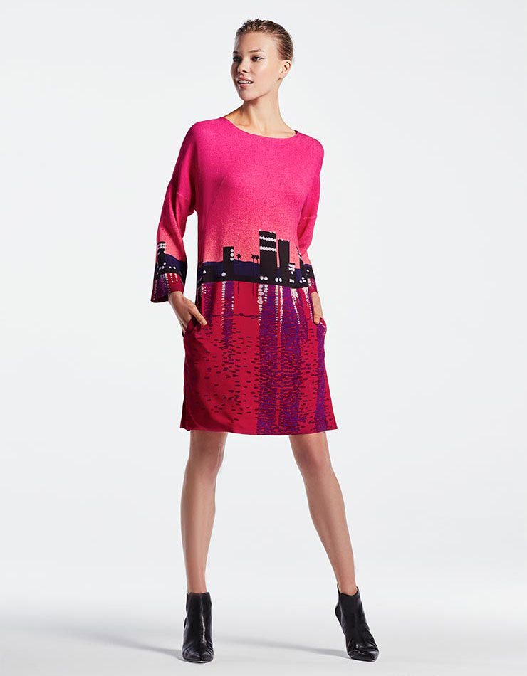 Akris punto Sunset City Long-Sleeve Dress