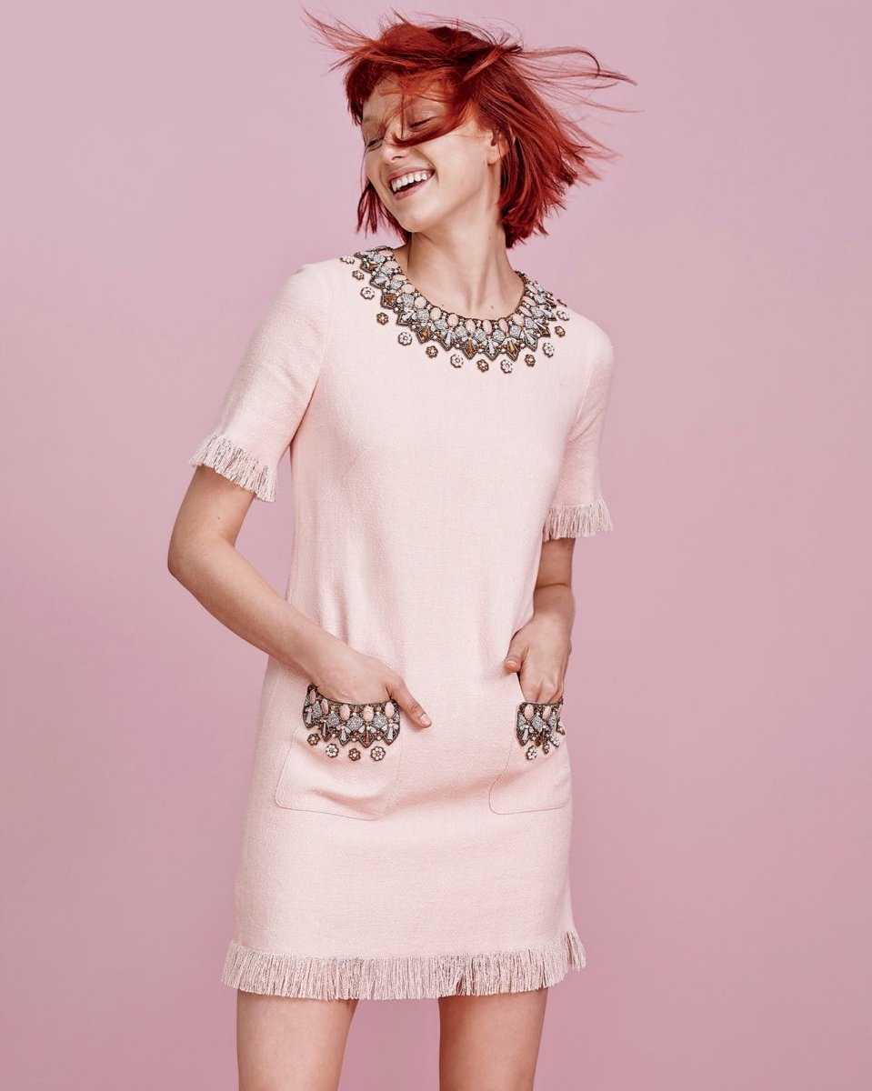 Andrew Gn Short-Sleeve Beaded Linen Dress