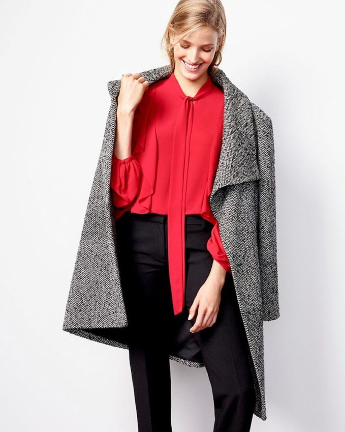 Ann Taylor Herringbone Wrap Coat