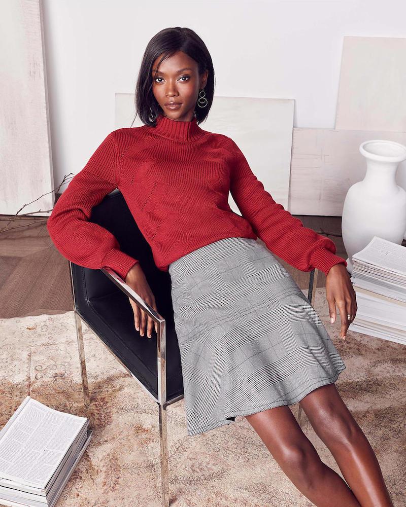 Ann Taylor Mock Neck Lantern Sleeve Sweater