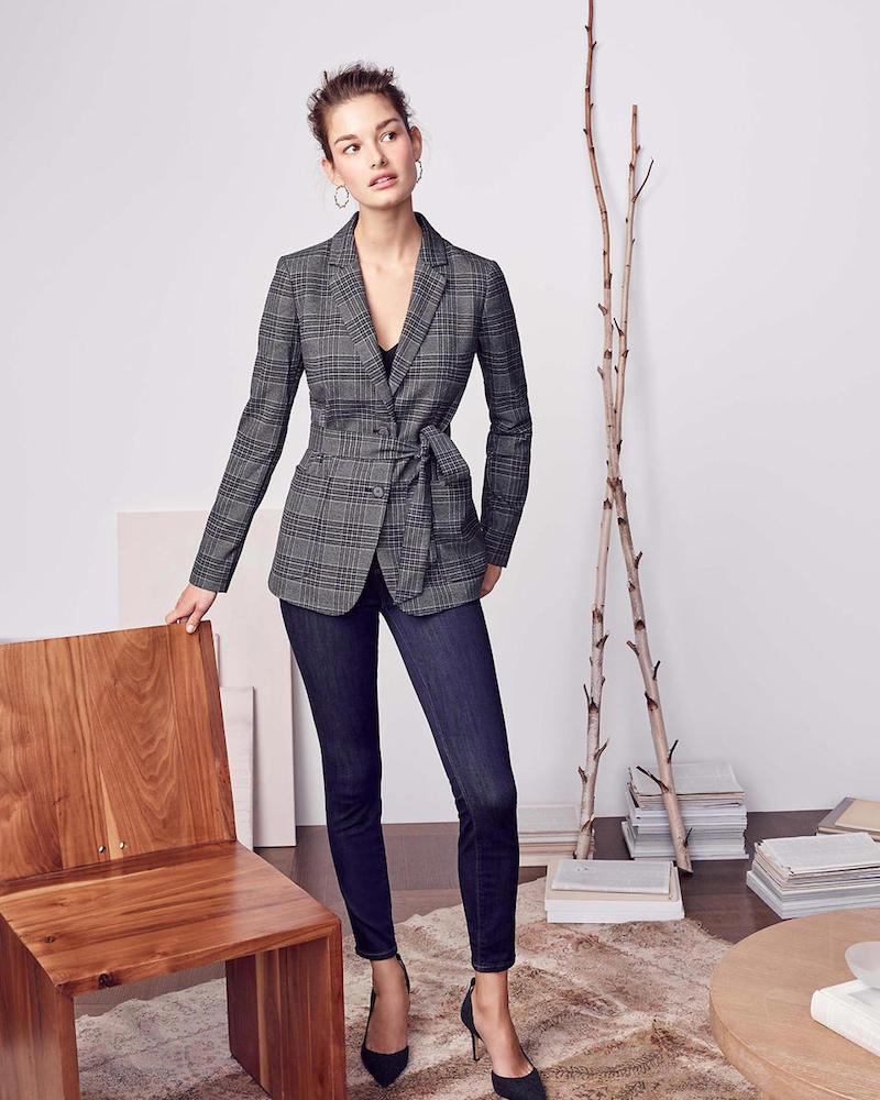 Ann Taylor Petite Menswear Plaid Belted Blazer