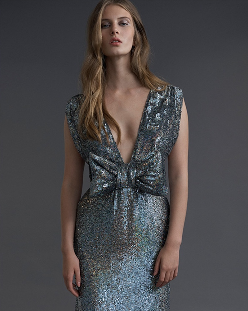 Ashish Bow-Front Sequin-Embellished Sleeveless Dress