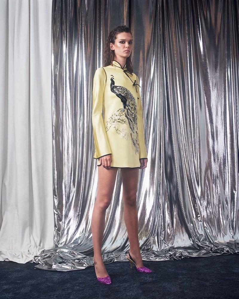 Attico Elena Peacock-Embroidered Satin Mini Dress
