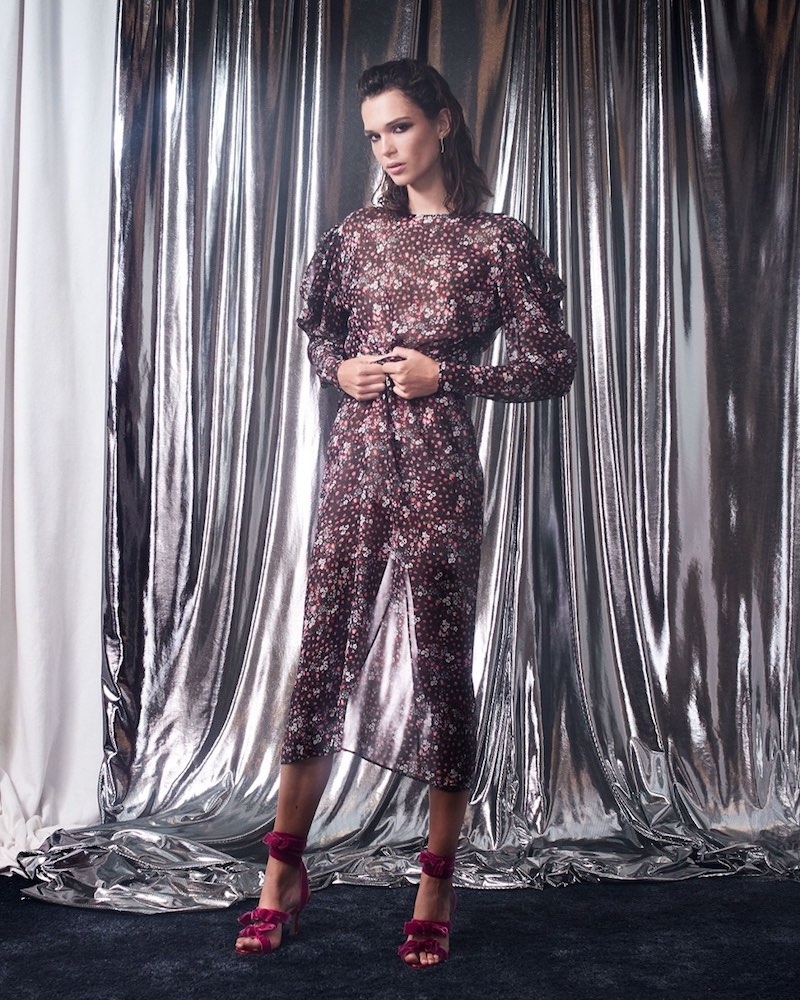 Attico Livia Rose-Print Tie-Waist Dress