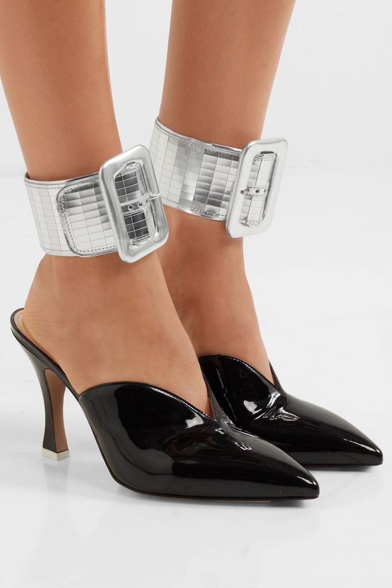 Attico Metallic Leather Ankle Straps