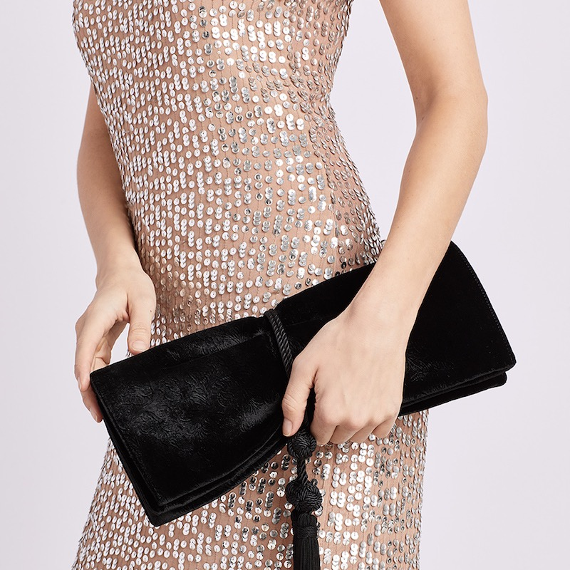 Badgley Mischka Carbon Debossed Velvet Flap Over Clutch