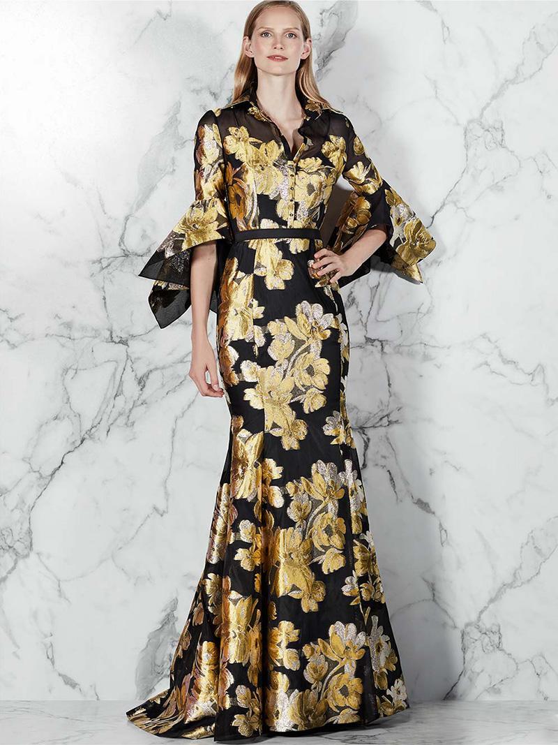 Badgley Mischka Jacquard Shirtwaist Gown with Belt