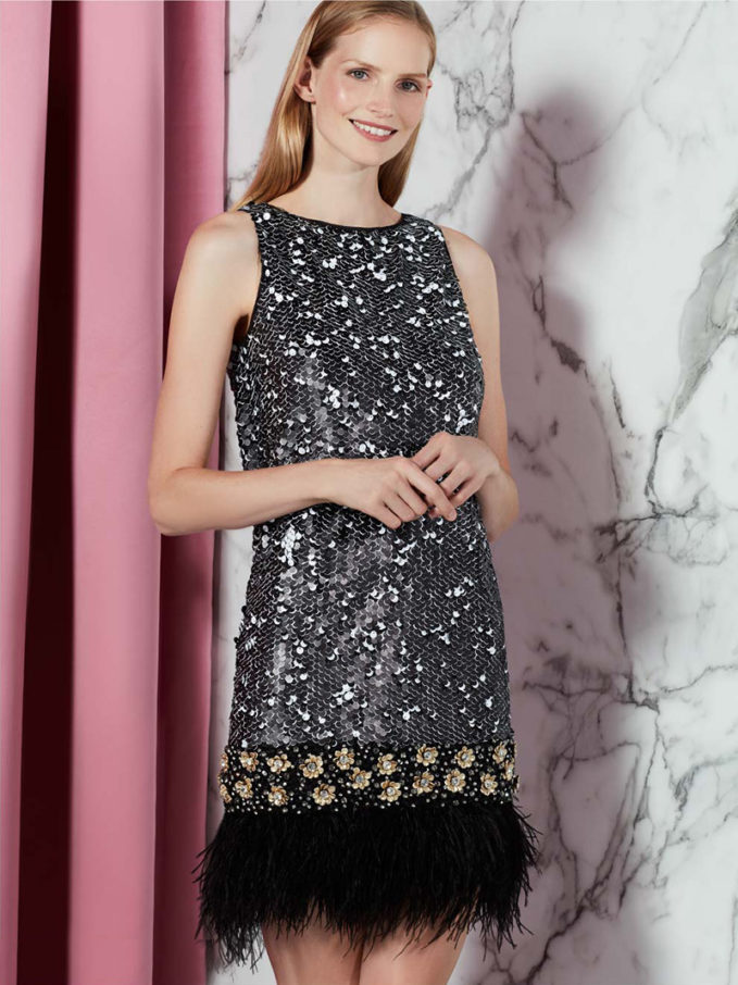 Badgley Mischka Sequin & Feather-Trim Dress