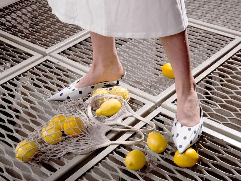 Balenciaga White Polka Dot Slide Heels