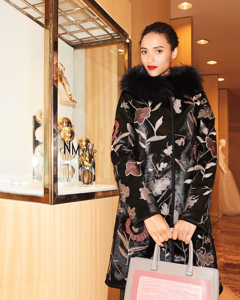 Belle Fare Floral-Embroidered Down Fur Coat with Fox-Fur Collar