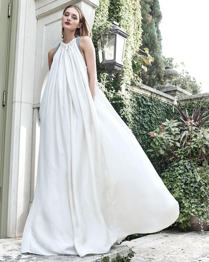 Brunello Cucinelli Crinkled Silk Sleeveless Gown with Monili Back Detail