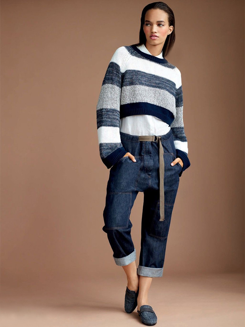 Brunello Cucinelli Linen and Silk Cropped Striped Sweater
