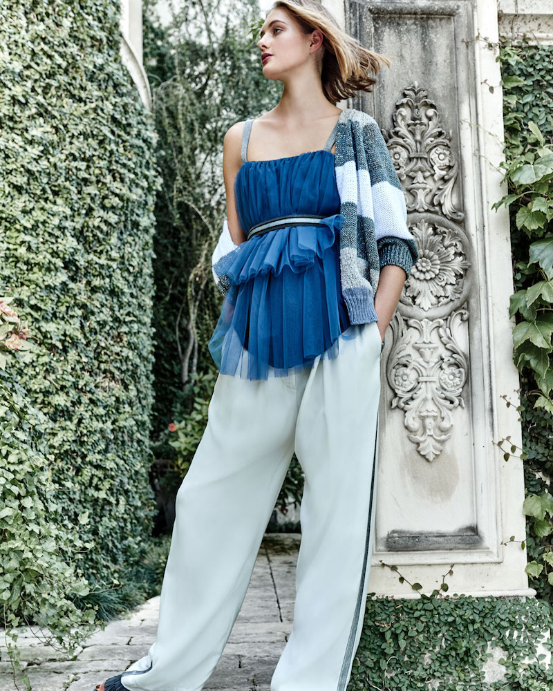 Brunello Cucinelli Tiered Pleated Tulle Top with Monili Straps