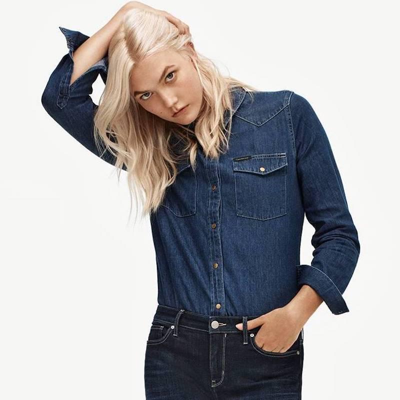 Calvin Klein Jeans Long Sleeve Denim Edge Western Button Down Shirt