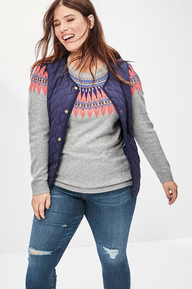 Caslon Tie Back Patterned Sweater