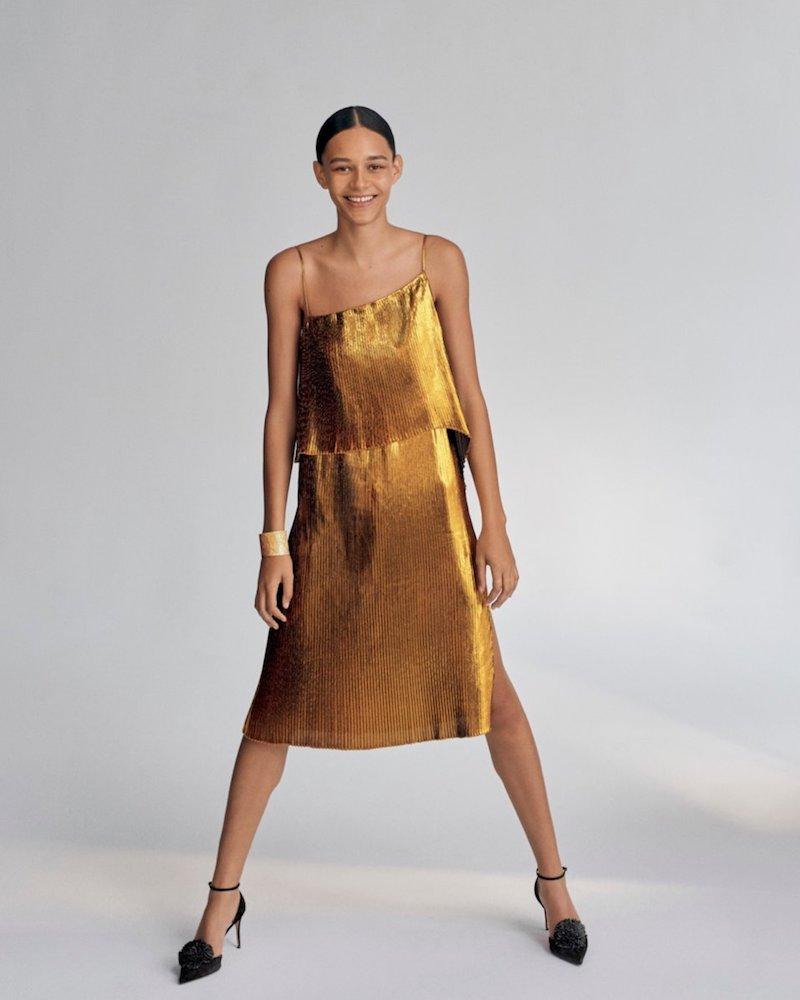 Cedric Charlier Metallic Plisse Two-Layer Spaghetti-Strap Cocktail Dress