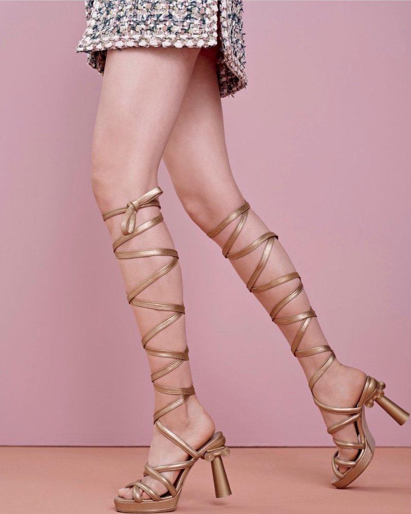 Chanel Lace-Up Gladiator Platform Sandals