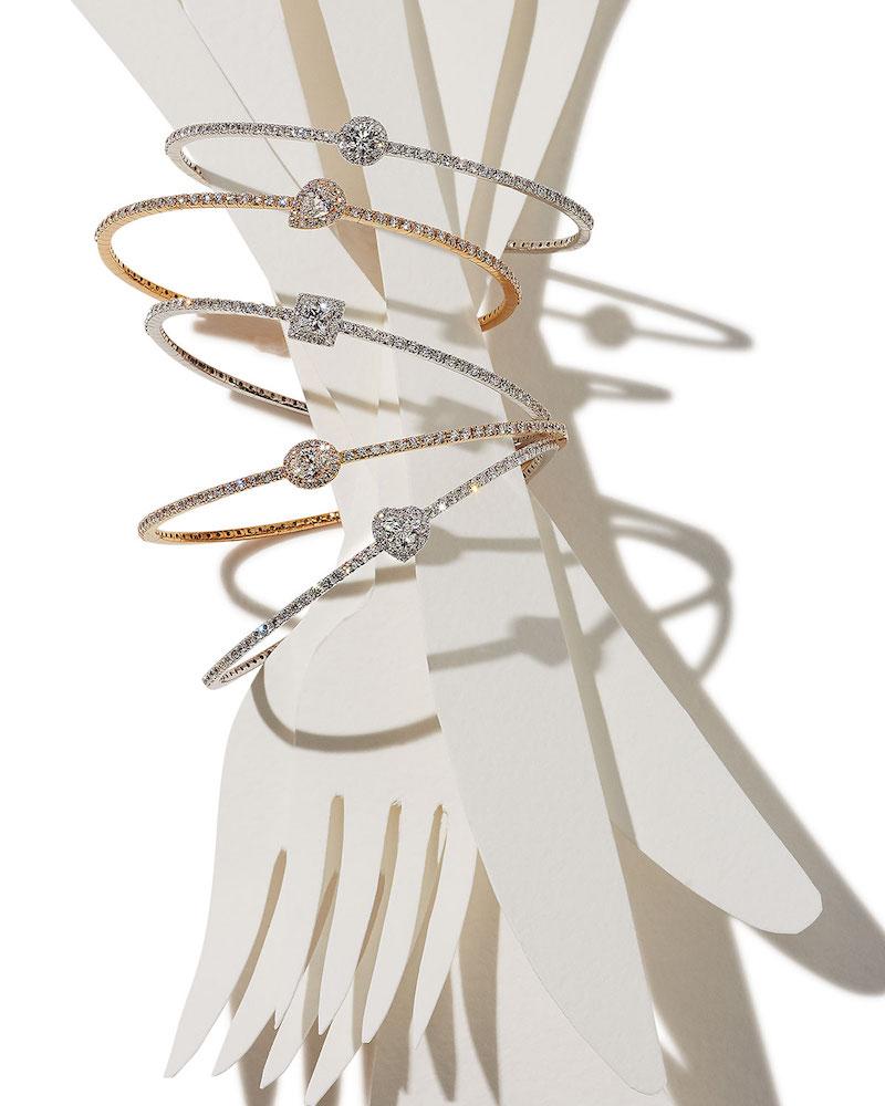 Crivelli 18K White Gold Princess-Shaped Diamond Station Bracelet