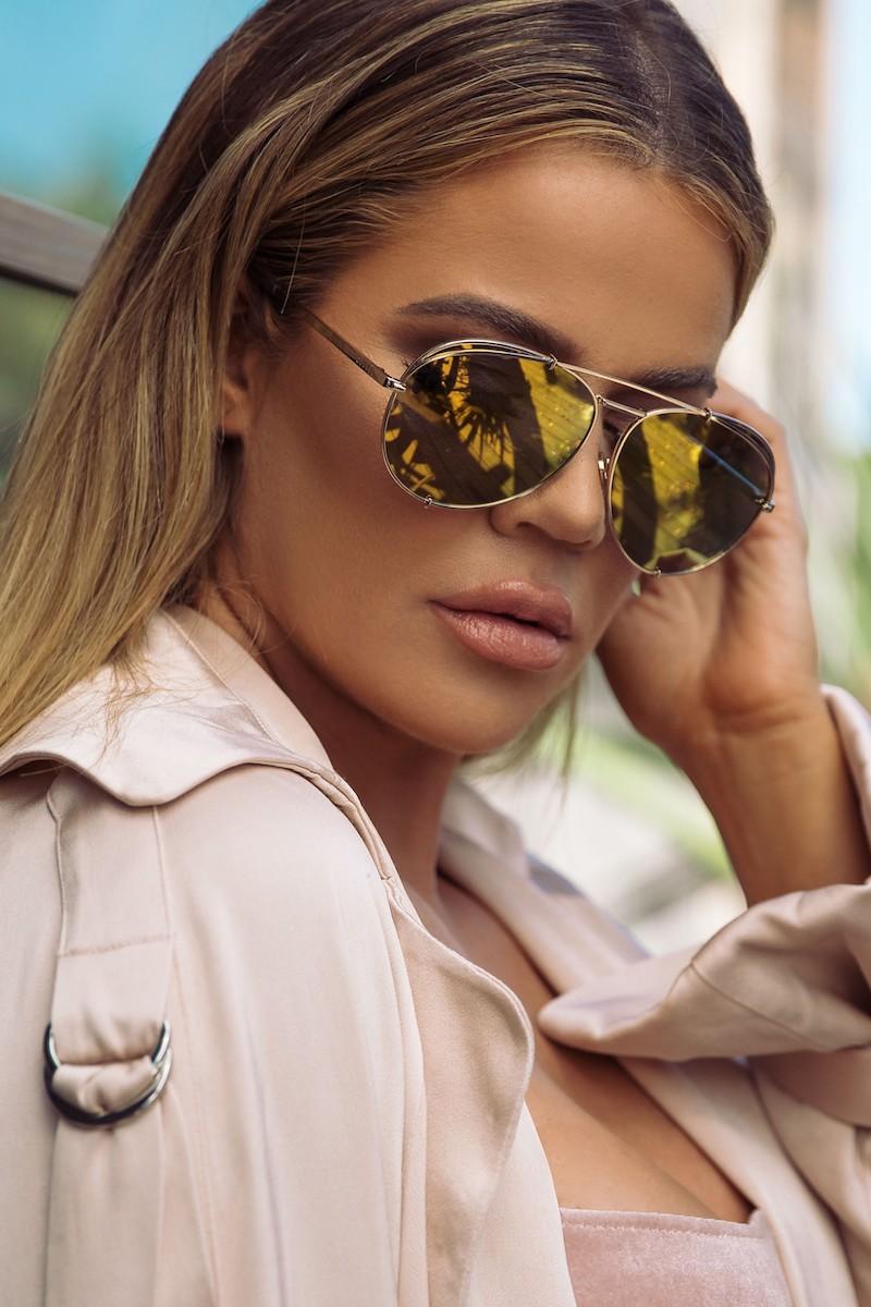 DIFF x Khloé Koko 63mm Oversize Aviator Sunglasses in Gold