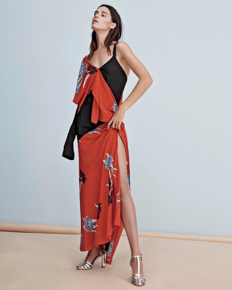 Diane von Furstenberg Single-Sleeve Asymmetrical-Draped Gown